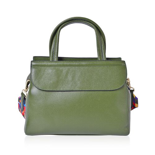 Designer Inspired  - Limited Edition- 100% Genuine Premium Leather Green Colour Tote Bag with Removable Colourful Shoulder Strap (Size 29X22X10.5 Cm)