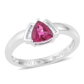 RHAPSODY 950 Platinum 0.75 Ct AAAA Ouro Fino Rubelite Ring with Diamond (VVS-VS/E-F)