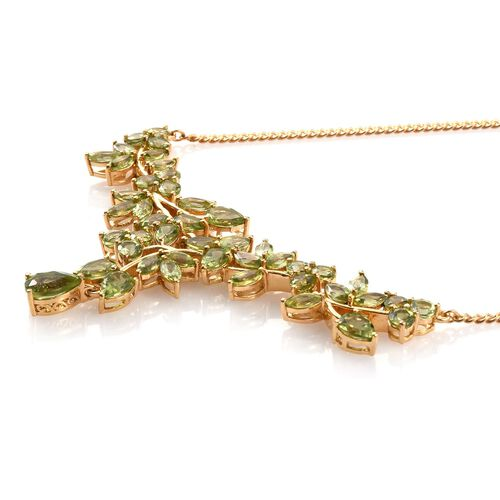 AA Hebei Peridot (Pear 1.50 Ct) Necklace (Size 18) in 14K Gold Overlay Sterling Silver 16.250 Ct.