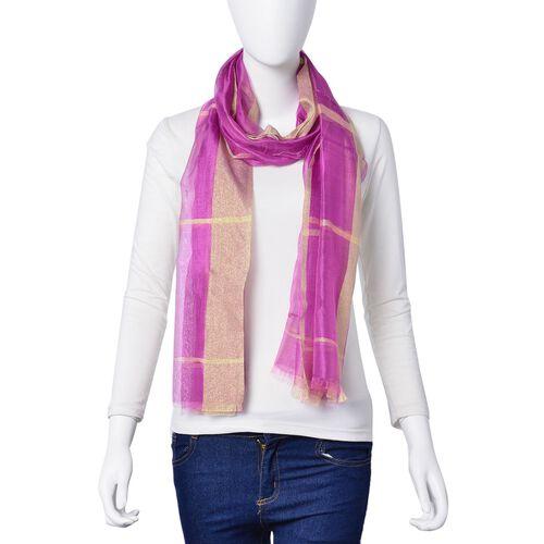 New Season-Purple Colour Scarf with Golden Threads (35% Silk Content) (180x70 Cm)