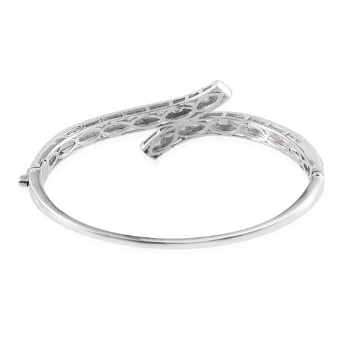 Espirito Santo Aquamarine (Ovl) Bangle (Size 7.5) in ION Plated Platinum Bond 3.250 Ct.