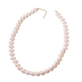 Exclusive Edition- 9K Yellow  Gold AAAA Fresh Water White Pearl Necklace (Size 18 with 2 inch Extender)