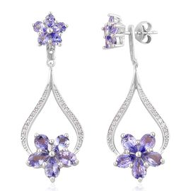 Tanzanite (Pear), White Zircon Floral Earrings (with Push Back) in Platinum Overlay Sterling Silver 5.050 Ct.