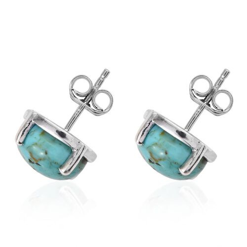 Arizona Matrix Turquoise (Rnd) Stud Earrings in Platinum Overlay Sterling Silver 3.000 Ct.