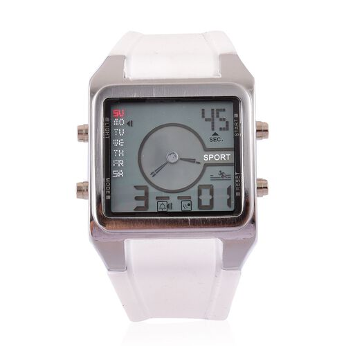 STRADA Chinese Movement LED Display Analog - Digital Watch in Silver Tone with White Colour Silicone Strap