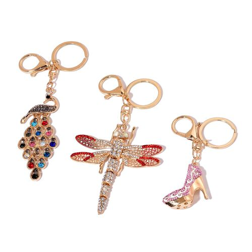 Set of 3 - White, Purple, Red and Multi Colour Austrian Crystal Dragon Fly, High Heel and Peacock Enameled Key Chain in Gold Tone