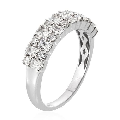 J Francis - Platinum Overlay Sterling Silver (Bgt) Ring Made with SWAROVSKI ZIRCONIA