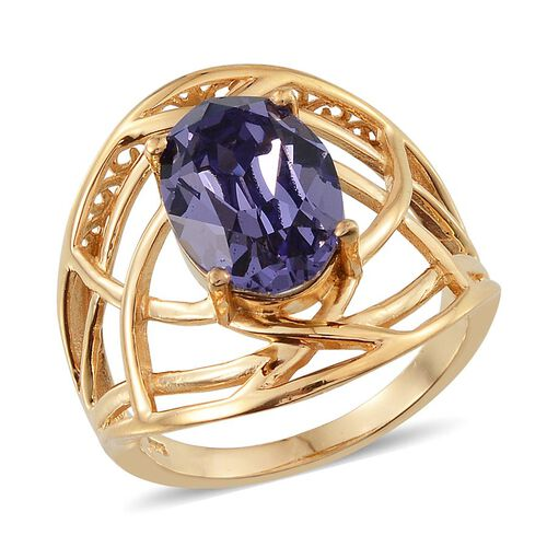 Crystal from Swarovski - Tanzanite Colour Crystal (Ovl) Solitaire Ring in 14K Gold Overlay Sterling Silver