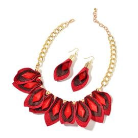Handcrafted Simulated Ruby Calla Lily Inspired BIB Necklace (Size 20 with 2 inch Extender) and Hook Earrings in Yellow Gold Tone with Stainless Steel