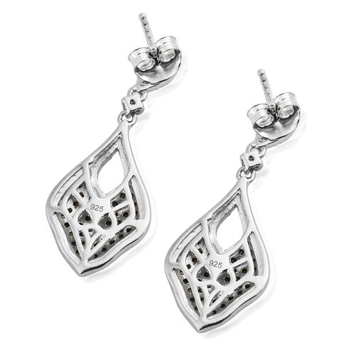Multi Colour Diamond (Rnd) Earrings (with Push Back) in Platinum Overlay Sterling Silver 0.755 Ct. Number of Diamonds 120
