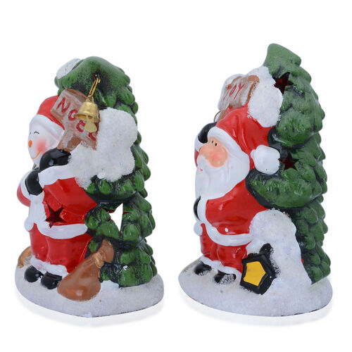 Set of 2 - Multi Colour Ceramic Santa Claus with Joy and Snowman with Noel Candle Holder