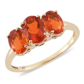 9K Yellow Gold AAA Jalisco Fire Opal (Ovl) 3 Stone Ring 2.000 Ct.