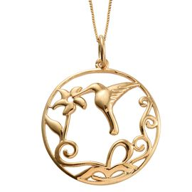 14K Gold Overlay Sterling Silver Humming Bird and Floral Pendant With Chain (Size 18), Silver wt 4.51 Gms.