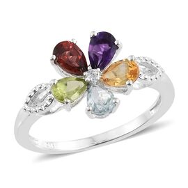 Sky Blue Topaz (Pear), Hebei Peridot and Multi Gemstone Flower Ring in Sterling Silver 2.250 Ct.