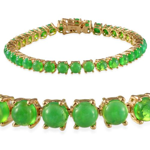 Green Ethiopian Opal (Rnd) Bracelet (Size 7.5) in 14K Gold Overlay Sterling Silver 12.250 Ct.