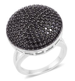 Red Carpet Collection - Boi Ploi Black Spinel Cluster Ring in Rhodium Plated Sterling Silver 3.250 Ct. Silver wt. 8.35 Gms.