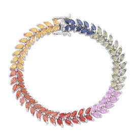 AAA Rainbow Sapphire (Mrq) Line Bracelet (Size 7) in Rhodium Plated Sterling Silver 17.000 Ct.