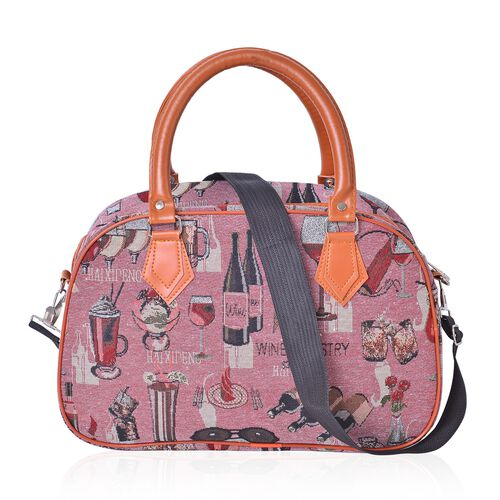 Pink and Multi Colour Champagne Wine Glass Pattern Tote Bag with Removable Shoulder Strap (Size 35x23x14 Cm)