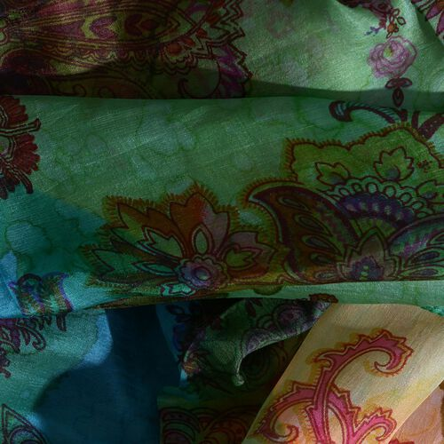 100% Mulberry Silk Green, Yellow and Multi Colour Water Stroke and Floral Hand Screen Printed Scarf (Size 180X100 Cm)