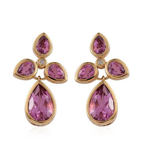 Kunzite Colour Quartz (Pear), White Topaz Earrings in 14K Gold Overlay Sterling Silver 16.600 Ct.