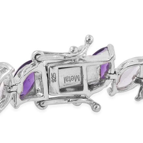 Amethyst (Mrq), White Topaz Tennis Bracelet (Size 7.25) in Platinum Overlay Sterling Silver 21.750 Ct.