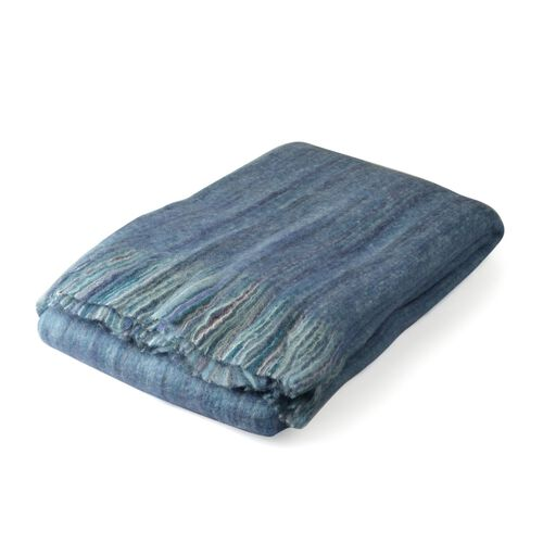30% Mohair Wool Blue and Multi Colour Throw with Fringes (Size 180X130 Cm)