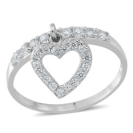 ELANZA AAA Simulated Diamond (Rnd) Heart Charm Ring in Rhodium Plated Sterling Silver