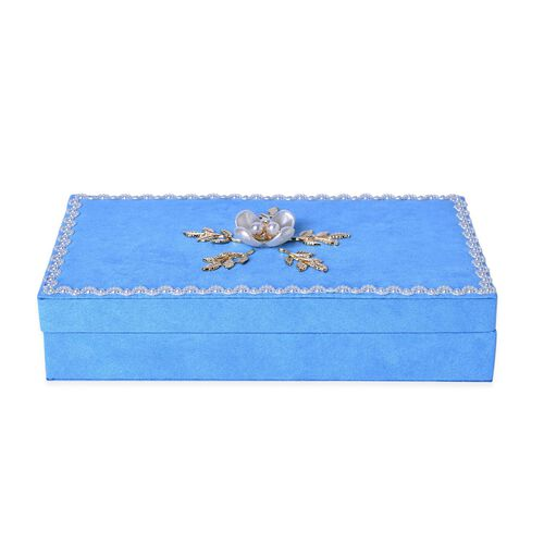 Handcrafted Lacy Border and Flower Embellished Light Blue Colour Velvet Jewelry Box with Mirror Inside (Size 25.5X15X6 Cm)