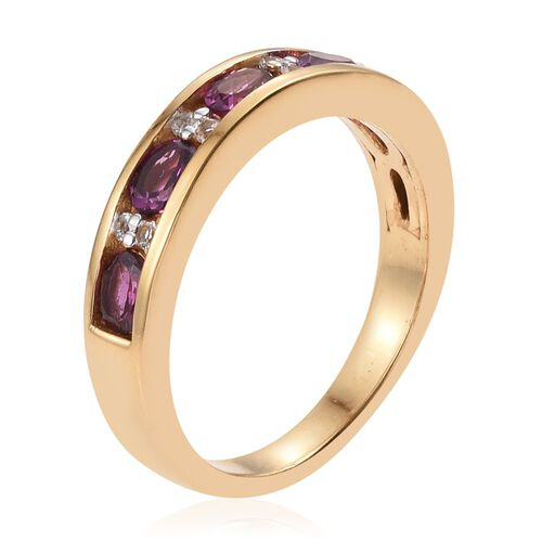 Rare Mozambique Grape Colour Garnet (Ovl), White Topaz Half Eternity Band Ring in 14K Gold Overlay Sterling Silver 1.250 Ct.