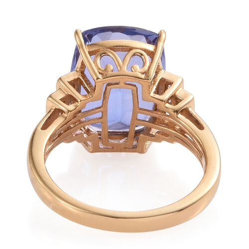 Colour Change Fluorite (Cush 11.50 Ct), White Topaz Ring in 14K Gold Overlay Sterling Silver 11.750 Ct.