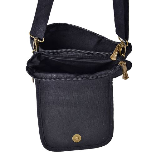 Shanghai Collection Luxury Peony Crossbody Bag with External Zipper Pocket and Shoulder Strap (Size 24x23 Cm)