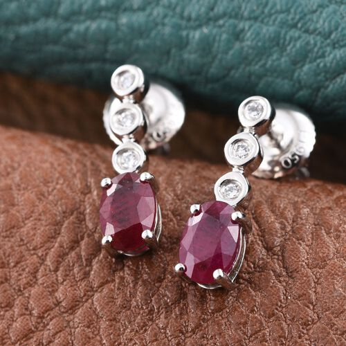 RHAPSODY 950 Platinum AAAA Pigeon Blood Burmese Ruby (Ovl), Diamond (VS/E-F) Earrings (with Screw Back) 1.250 Ct.