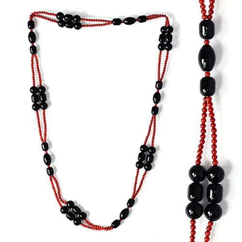 Black Onyx, Coral Enhanced Necklace (Size 36) 507.850 Ct.