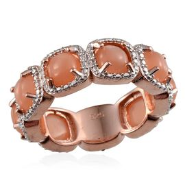 Mitiyagoda Peach Moonstone (Cush), Diamond Full Eternity Ring in Rose Gold Overlay Sterling Silver 8.020 Ct.