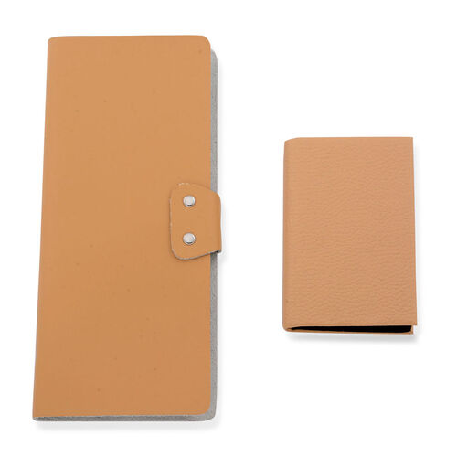Set of 2 - Peach Colour Large (Size 19.3x8.5 Cm) and Small (Size 9.5x6.5 Cm) Card Holder in Silver Tone