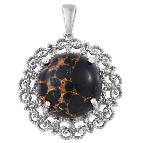 Arizona Mojave Black Turquoise (Rnd) Pendant in Platinum Overlay Sterling Silver 12.750 Ct.