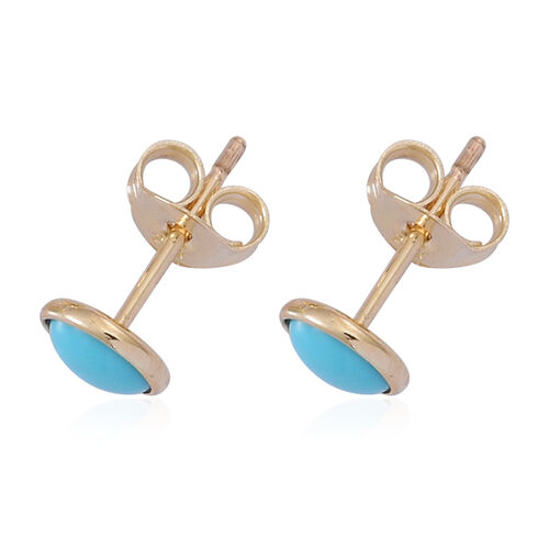 9K Y Gold Arizona Sleeping Beauty Turquoise (Rnd) Stud Earrings 0.750 Ct.