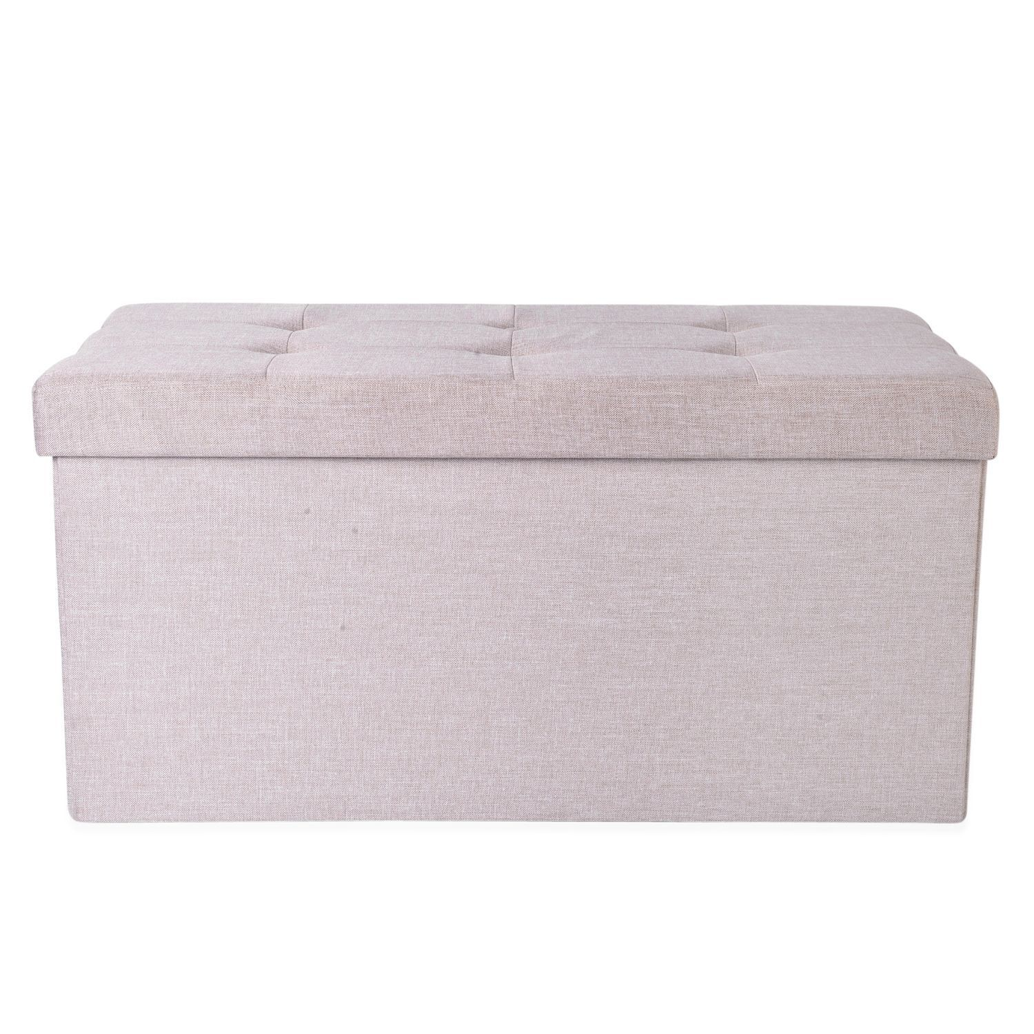 Cream Colour Linen Foldable Large Storage Ottoman with Padded Seat