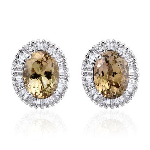 ILIANA 18K White Gold 3.15 Carat Natural Yellow Tanzanite Oval Halo Stud Earrings, Diamond SI G-H with Screw Back.