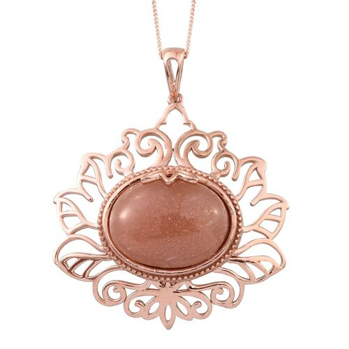 Morogoro Peach Sunstone (Ovl) Pendant With Chain in Rose Gold Overlay Sterling Silver 16.000 Ct.