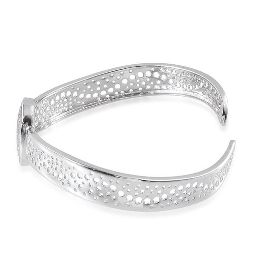 Meteorite (Ovl) Cuff Bangle (Size 7.5) in Platinum Overlay Sterling Silver 14.000 Ct.