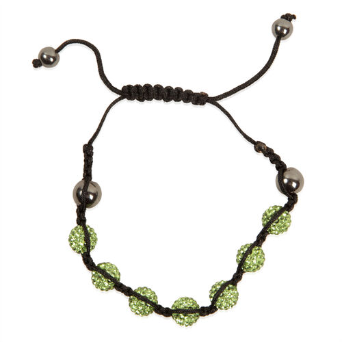 Green Austrian Crystal, Hematite Bracelet (Adjustable)