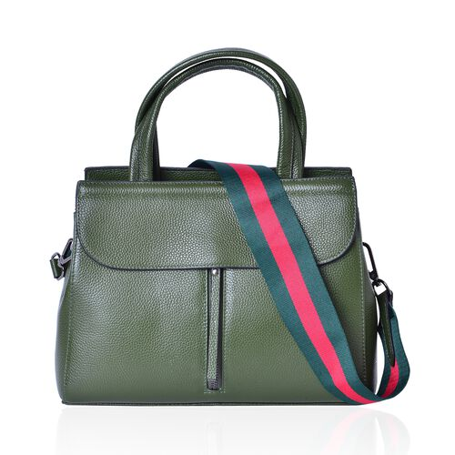 Designer Inspired Top Grain 100% Genuine Leather Light Green Colour Tote Bag with Pink and Dark Green Colour Removable Shoulder Strap (Size 29X22X10.5 Cm)