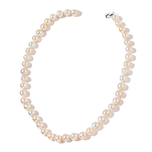 ILIANA 18K W Gold Very Rare AAAAA Fresh Water White Pearl (9.5-10.5 mm) Necklace (Size 18)