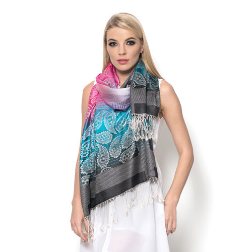 100% Superfine Silk Green, Pink, Purple and Black Colour Paisley Pattern Jacquard Jamawar Shawl with Fringes (Size 175x70 Cm)  (Weight 125 to140 Grams)