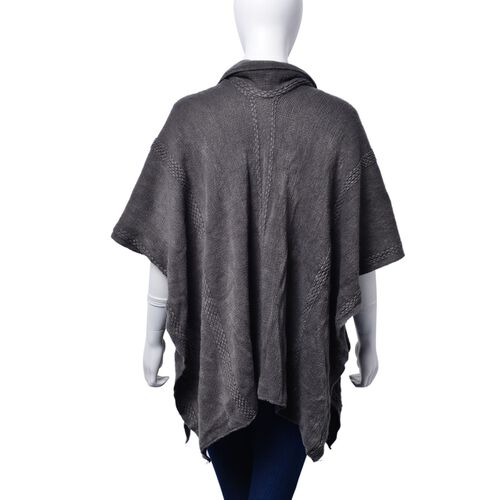 Set of 2 - Dark Grey Colour Poncho (Size 80x70 Cm) and Scarf (Size 145x13 Cm)