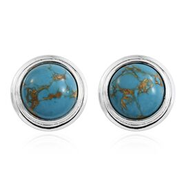 Mojave Blue Turquoise (Rnd) Stud Earrings (with Push Back) in Sterling Silver 4.000 Ct.