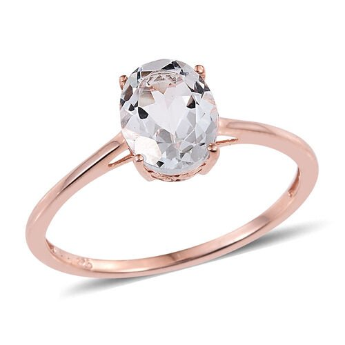 White Topaz (Ovl) Solitaire Ring and Pendant in Rose Gold Overlay Sterling Silver 4.000 Ct.