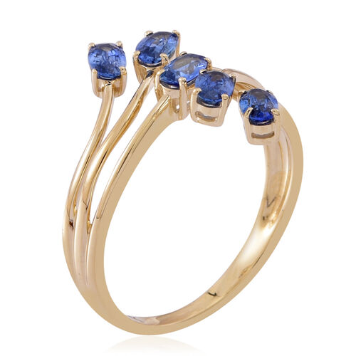 9K Y Gold AA Ceylon Sapphire (Ovl) 5 Stone Crossover Ring 1.750 Ct.