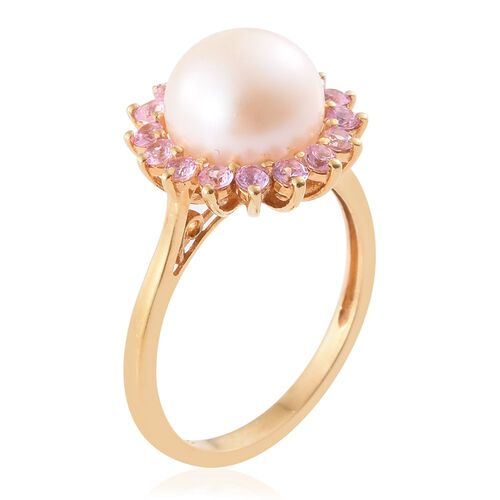 White Pearl, Pink Sapphire Silver Floral Halo Ring in Gold Overlay